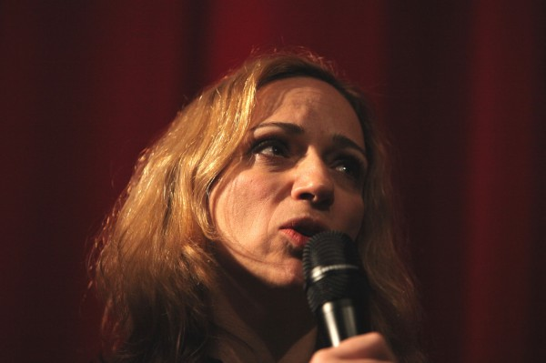 "Greek actress Maria Kallimani at the Berlinale on 10 February 2014. Kallimani presented the film ""Sto spiti"" (""At Home""), in which she embodies the character of Georgian housekeeper Nadja."