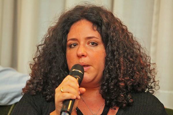 "Hungarian film director Eszter Hajdú at the goEast Filmfestival in Wiesbaden, Germany, on 12 April 2014. Hajdú presented her documentary ""Judgement in Hungary""."